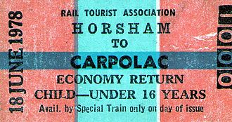 Serviceton railway line - Horsham-Carpolac rail ticket 1978