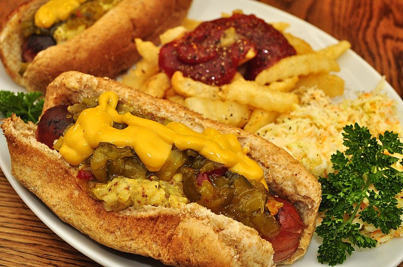 File:Hot dogs with relish and mustard.jpg