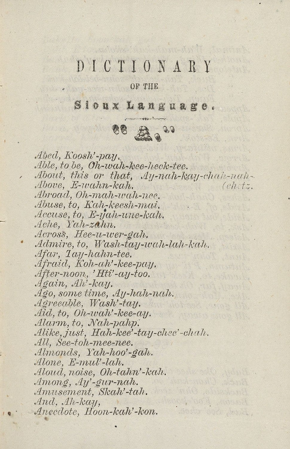 Houghton 1273.51 - Dictionary of Sioux Language, p. 3