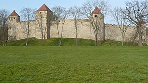 Veveří Castle - the fortifications part and towers made by Luxembourg dynasty after 1350