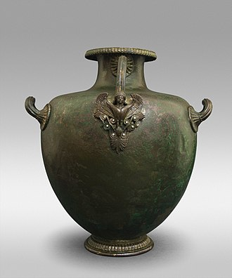 Hydria - Bronze hydria / kalpis with siren handle attachment, c. 460-450 BC, housed in the Vassil Bojkov Collection, Sofia, Bulgaria