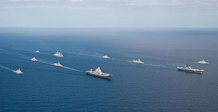 Indian Navy ships in transit led by aircraft carrier INS Vikramaditya INS Vikramaditya - 02.jpg