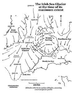 A huge glacier during the Pleistocene Ice Age