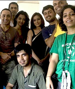 Rahul Bose - Bose (far left) on the set of National Award-winning Hindi film I Am in 2010