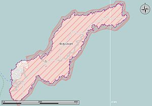 Île du Levant - The military zone is shown in red on the map of the island.