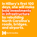 In Hillary's first 100 days, she will make bold investments in infrastructure by rebuilding North Carolina's roads, bridges, and airports.png