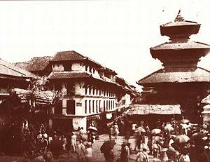 Indrachok, Kathmandu - North side of Indra Chok in 1910