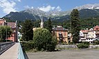 Innsbruck, der Emile Béthouart Steg met die Stadt Pfarrkirche Sankt Nikolaus foto6 2017-07-31 13.21.jpg