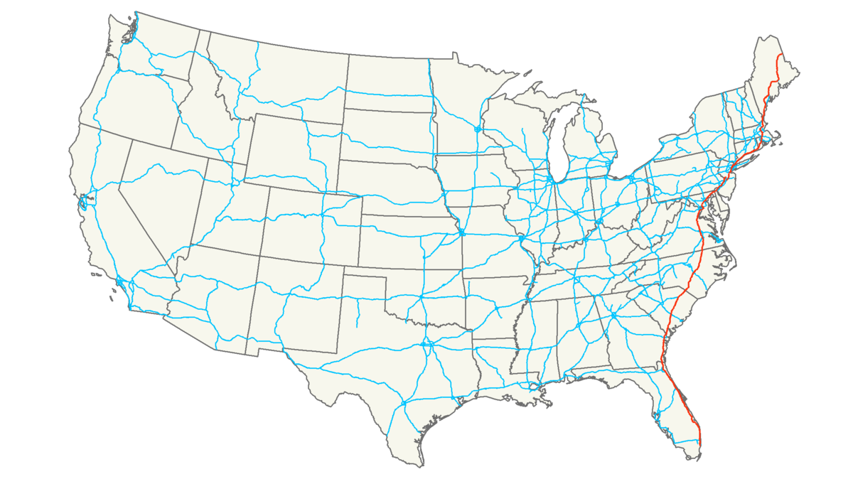 I-95 runs along the East Coast of the United States
