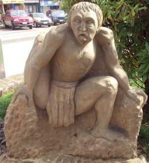 Imbunche - Imbunche statue in Plaza de Ancud, Chile.