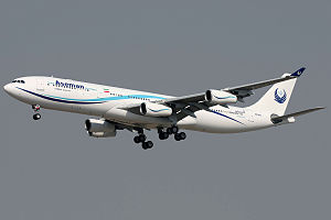 Iran Aseman Airlines - Iran Aseman Airbus A340  landing at Mehrabad International Airport, Iran
