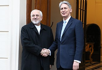 Mohammad Javad Zarif - Zarif with then-U.K. Foreign Secretary Philip Hammond, 5 February 2016