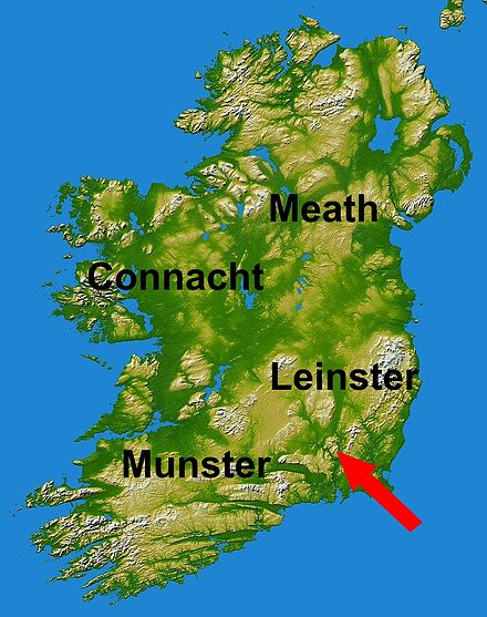 Kingdoms of Ireland in 1171, and arrow showing Henry's invasion Ireland 1173.jpg