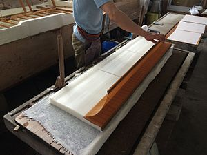Washi - Example of making washi at Ise, Mie pref. IseWashi makes washi for Ise Jingu.