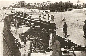 1911 in Italy - Italian artillery battery during the Italo-Turkish War.