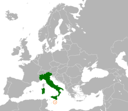 Map indicating locations of Italy and Malta