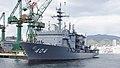 JS Chiyoda(ASR-404) left front view at Kawasaki Heavy Industries Kobe Shipyard Novenber 11, 2017 02.jpg