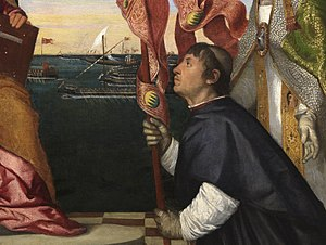 Jacopo Pesaro being presented by Pope Alexander VI to Saint Peter - Detail of Pesaro and the galleys