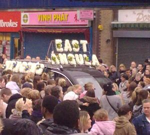 Jade Goody - A car in Goody's funeral procession in The Blue market, Bermondsey, with East Angula (sic) spelt out in flowers