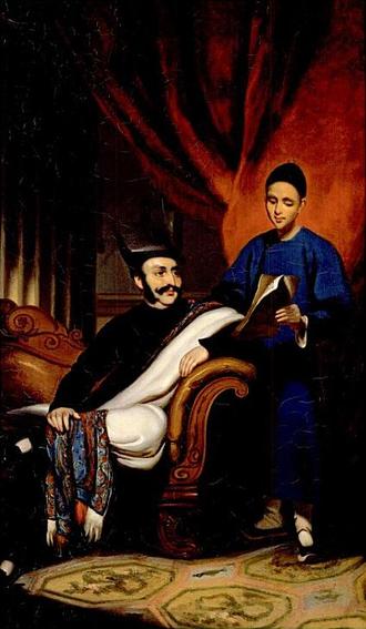 Jamsetjee Jejeebhoy - Jejeebhoy and his Chinese secretary (portrait by George Chinnery)