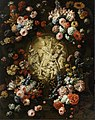 Jan Baptist Bosschaert - A garland of flowers surrounding a medallion enclosing an early Christian motif.jpg