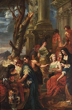 Jan-Erasmus Quellinus - Thetis dips Achilles in a vase with water from the Styx
