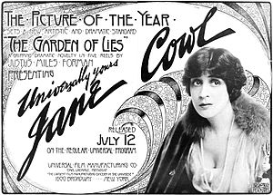 Jane Cowl - Advertisement for Jane Cowl in the 1915 Universal film The Garden of Lies