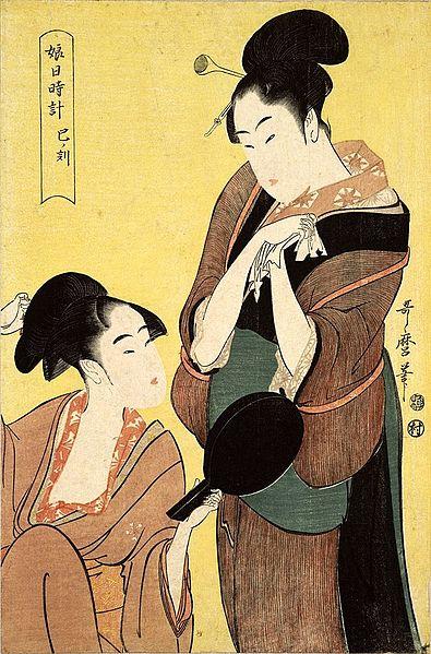 http://upload.wikimedia.org/wikipedia/commons/thumb/2/29/Japan_Ukiyo-%C3%A9_Painting_Jeux_de_miroir_1797-Kitagawa_Utamaro_%284801276901%29.jpg/395px-Japan_Ukiyo-%C3%A9_Painting_Jeux_de_miroir_1797-Kitagawa_Utamaro_%284801276901%29.jpg