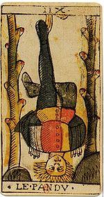http://upload.wikimedia.org/wikipedia/commons/thumb/2/29/Jean_Dodal_Tarot_trump_12.jpg/150px-Jean_Dodal_Tarot_trump_12.jpg
