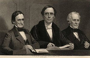 Jeremiah Day - Jeremiah Day, Theodore Dwight Woolsey and Benjamin Silliman, left to right, Commencement Day, Yale College, 1860. Steel engraving by John Sartrain