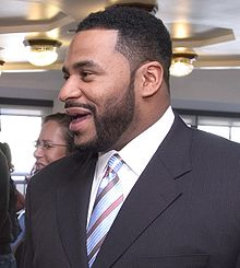 Description de l'image  Jerome Bettis at Health event, May 2005, cropped.jpg.