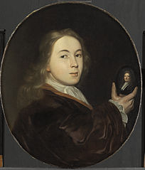 Portrait of Johannes Bakhuysen (1683-1731), with a miniature portrait of his father Ludolf