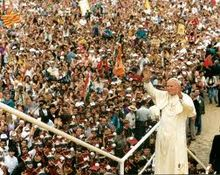 Pope John Paul II in Poland for World Youth Day 1991.