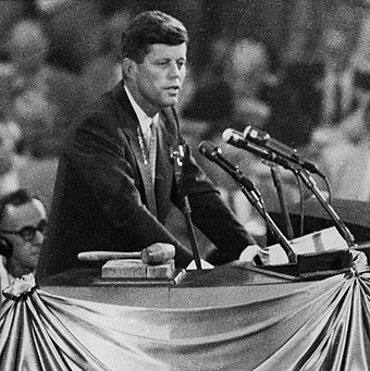 Kennedy endorsing Adlai Stevenson II for the presidential nomination at the 1956 Democratic National Convention in Chicago John F. Kennedy nominates Adlai Stevenson 1956 (cropped).JPG