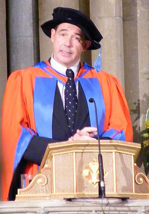 Academic dress of the University of Exeter - Jonathon Porritt receiving an Honorary degree from the University of Exeter in 2008, wears full Higher Doctoral dress
