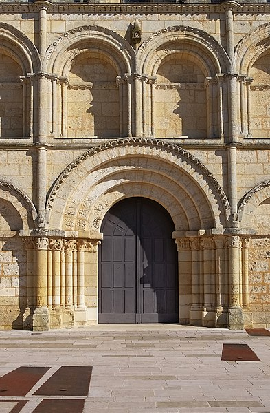 Portal of Saint-Gervais-Saint-Protais church (12th, 15th and 19th centuries), Jonzac, Charente-Maritime, France.