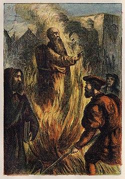 Joseph Martin Kronheim - Foxe's Book of Martyrs Plate VII - Death of Cranmer