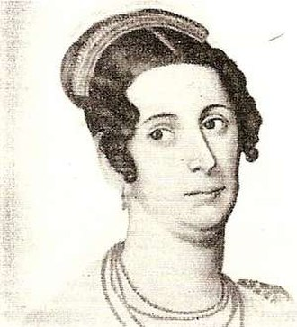 First Ladies and Gentlemen of Argentina - Portrait engraving of Juana del Pino