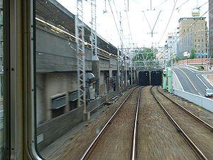 Kōbe Rapid Transit Railway - The only overground segment of Kobe Rapid Railway, right after Hankyū-Sannomiya Station.