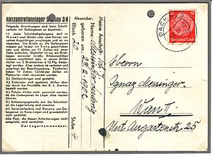 Lagerordnung - Postcard from a prisoner at Dachau, with detailed rules for correspondence