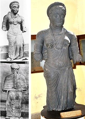 Rajuvula - The Saptarishi Tila statue, possibly representing Kamuia Ayasa/ Kambojika, the Chief Queen of Mahakshatrapa Rajula. Found in the Saptarishi Mound, the same mound where the Mathura lion capital was found. Circa 1st century CE.