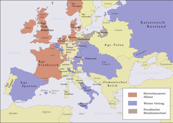 The partners of the Vienna Treaty (blue) and those of the Herrenhausen Alliance (red) 1725/30