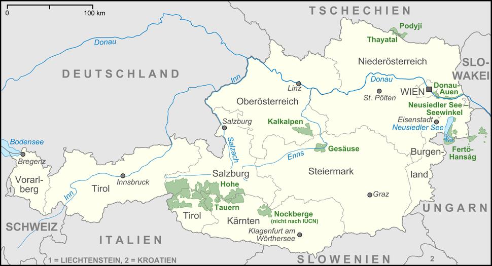 Karte Nationalparks Österreich