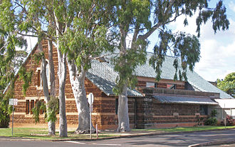 Albert Spencer Wilcox Building - Rear view shows stone structure
