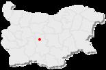 Karte von Bulgarien, Position von Chisarja hervorgehoben