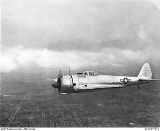 Nakajima Ki-43 - A captured Ki-43-Ib in flight over Brisbane, 1943.