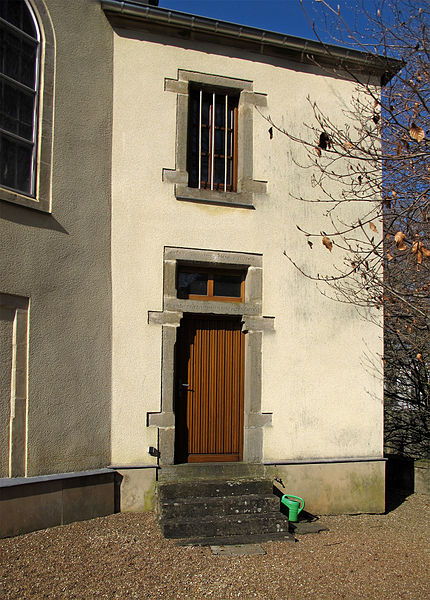 Church of Colpach-Bas, Luxembourg, entrance of the vestry