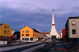 Vardø - The Kirkegata Street in Vardø with the church