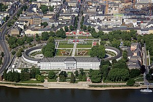 Electoral Palace, Koblenz - Aerial view of the Electoral Palace in 2011 during the German Federal Horticultural Show