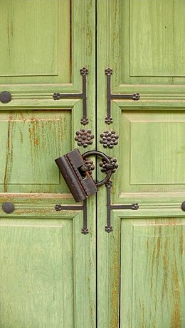 Korea-Seoul-Changdeokgung-Green door with a lock.jpg